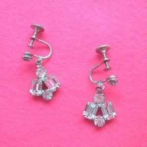 vintage jewelry glam pin up rhinestone earrings